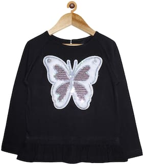 KiddoPanti Girl Cotton Embellished Top - Black