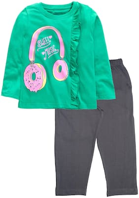 KiddoPanti Girl's Cotton Printed Full sleeves Top & pyjama set - Green & Grey