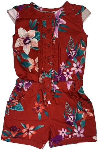 KiddoPanti Cotton Floral Romper For Girl - Red