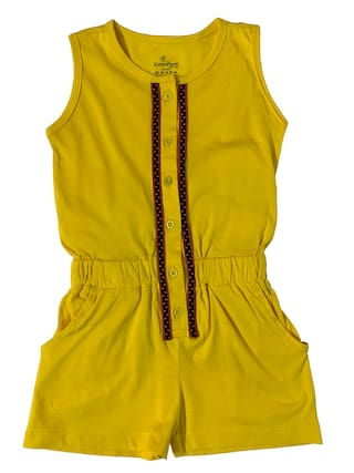 KiddoPanti Cotton Solid Onesies For Girl - Yellow