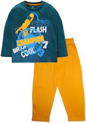 KiddoPanti Cotton Green;Yellow Printed Top & Pyjama Set  For Boy