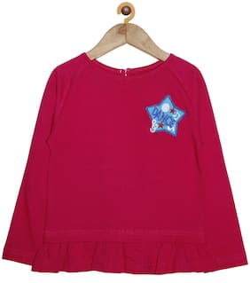 KiddoPanti Girl Cotton Solid Top - Pink