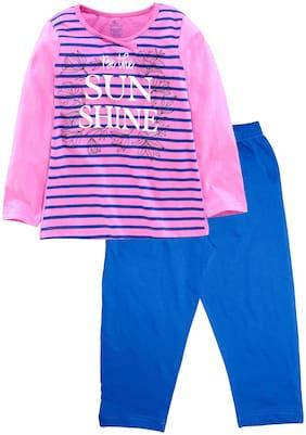KiddoPanti Girl's Cotton Printed Full sleeves Top & pyjama set - Pink & Blue