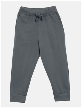 KiddoPanti Cotton Solid Grey Color Joggers For Boy (Set Of 1)