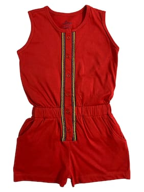 KiddoPanti Cotton Solid Onesies For Girl - Red
