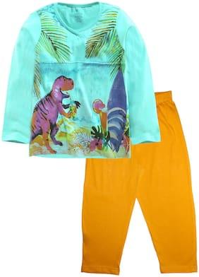 KiddoPanti Girl's Cotton Printed Full sleeves Top & pyjama set - Green & Yellow