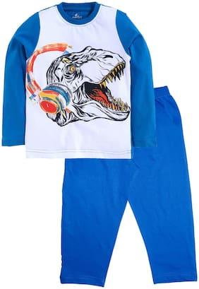 KiddoPanti Cotton Blue Printed Top & Pyjama Set  For Boy