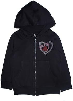 KiddoPanti Cotton Blend Embellished Black Color Sweatshirt For Girl