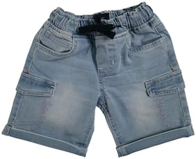 KiddoPanti Denim Cargo shorts For Boys with Embroidery (Blue)