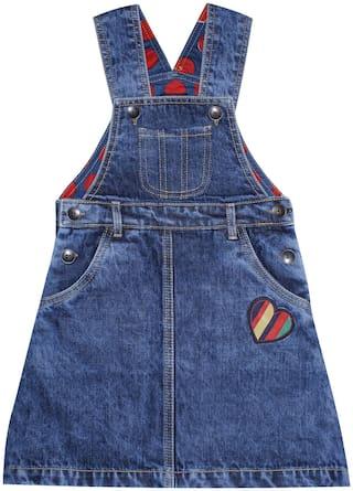 KiddoPanti Denim Solid Dungaree For Girl - Blue