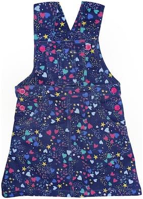 KiddoPanti Cotton Printed Dungaree For Girl - Blue