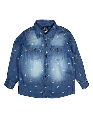 KiddoPanti Boy Denim Printed Shirt Blue