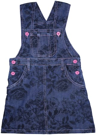 KiddoPanti Denim Printed Dungaree For Girl - Blue