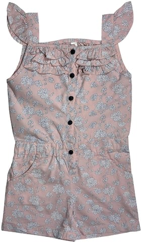 KiddoPanti Cotton Floral Onesies For Girl - Pink