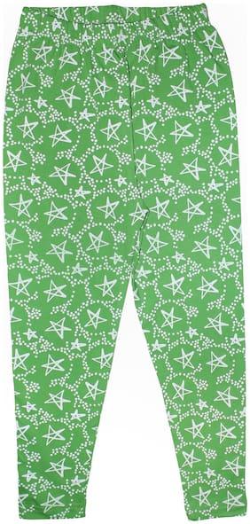 KiddoPanti Girls Star AOP Legging;Green;4-6 Y