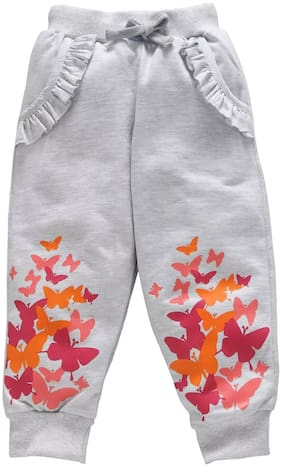 KiddoPanti Girl Cotton Track pants - Grey