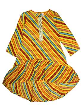KiddoPanti Girls Stripe Design lace yoke Frill layer Hem Multi