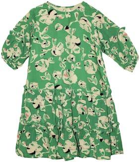 KiddoPanti Green Cotton 3/4th Sleeves Knee Length Winter Frock ( Pack of 1 )