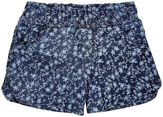 KiddoPanti Girl Denim Floral Denim shorts - Blue