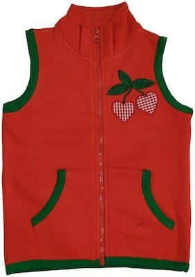 KiddoPanti Girl Cotton blend Solid Winter jacket - Orange