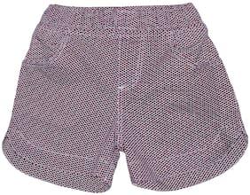 KiddoPanti Girl Cotton Blend Polka Dots Hot Pants (Maroon)