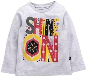 KiddoPanti Girl Cotton Printed T shirt - Grey