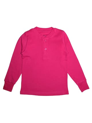 KiddoPanti Girl Cotton Solid T shirt - Pink