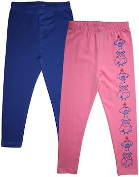 KiddoPanti Cotton Printed Leggings - Blue & Pink