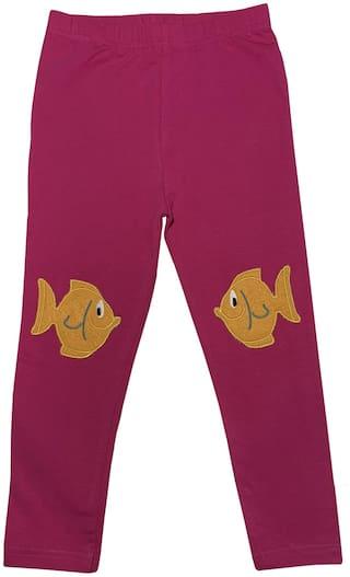 KiddoPanti Girl's Fish Applique Knee Patch Legging (Pink)