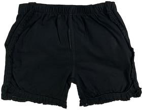 KiddoPanti Girl Cotton Solid Regular shorts - Black