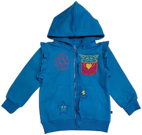 KiddoPanti Girl's Front Open Hooded Sweatshirt With Frill Details On Armhole And Placket (Blue)