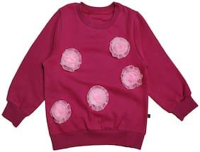 KiddoPanti Girl Cotton blend Floral Sweatshirt - Pink