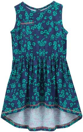 KiddoPanti Blue Cotton Sleeveless Knee Length Winter Frock ( Pack of 1 )