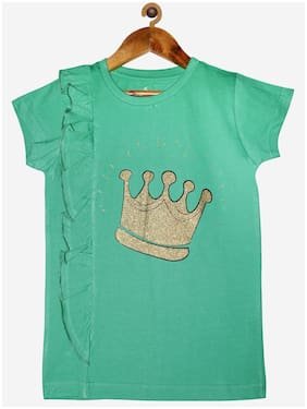 "KiddoPanti Girl ""Crown"" Printed Half Sleeve tee With Side Frill"