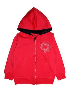 KiddoPanti Girls Front Open Hooded Sweatshirt With Rhine Stone Applique;Red