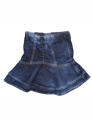 KiddoPanti Girl Denim Solid Flared skirt - Blue