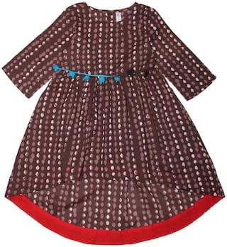 KiddoPanti Girl's Cotton Printed 3/4th sleeves Kurta & kurti - Brown