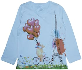KiddoPanti Girl Cotton Printed T shirt - Blue