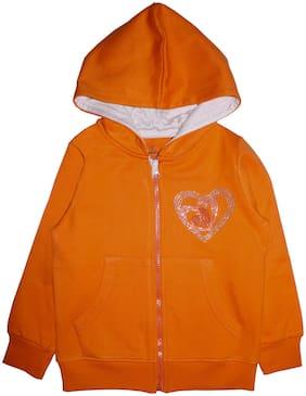 KiddoPanti Girl Cotton blend Solid Sweatshirt - Orange