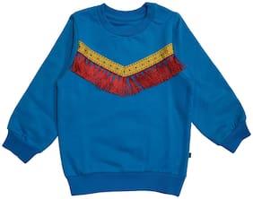 KiddoPanti Girl Cotton blend Solid Sweatshirt - Blue
