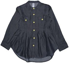 KiddoPanti Girl Cotton Solid Top - Black