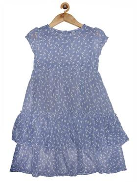 KiddoPanti Blue Georgette Short Sleeves Knee Length Princess Frock ( Pack of 1 )