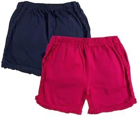 KiddoPanti Girl Cotton Solid Regular shorts - Blue & Pink