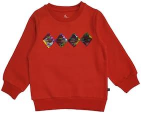 KiddoPanti Girl's Sweatshirt With Front Yoke Sequin Fabric Patch (Orange)
