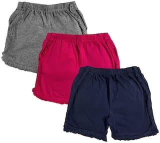 KiddoPanti Girl Cotton Solid Regular shorts - Multi