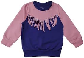 KiddoPanti Girl Cotton blend Solid Sweatshirt - Purple