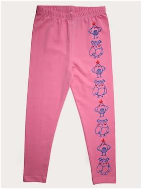 KiddoPanti Cotton Printed Leggings - Pink