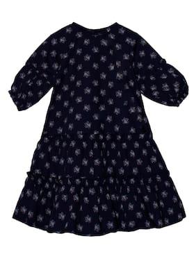 KiddoPanti Blue Rayon 3/4th Sleeves Knee Length Winter Frock ( Pack of 1 )