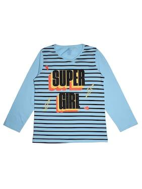 KiddoPanti Girl Cotton Striped T shirt - Blue