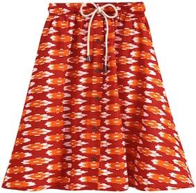 KiddoPanti Girl Cotton Printed A- line skirt - Red & Orange